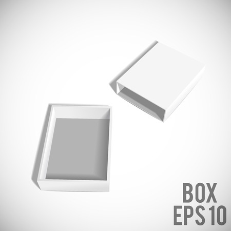 food box: Illustartion of Opened White Cardboard Package Box.