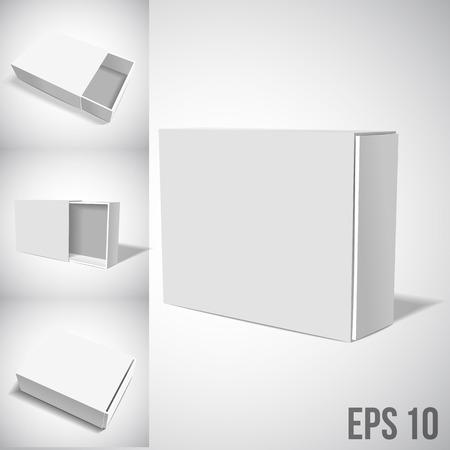 Illustartion van Geopend witte kartonnen verpakking Box.
