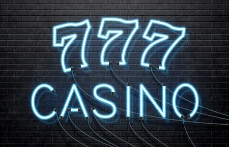 isolated illustartion: Illustartion of neon casino isolated on black brick wall