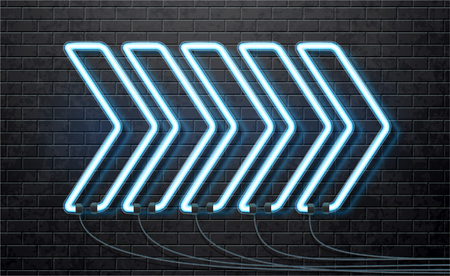 Illustartion of neon blue arrow isolated on black brick wall