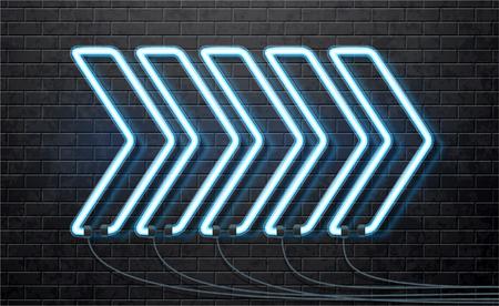 Illustartion van neon blauwe pijl geïsoleerd op een zwarte bakstenen muur Stock Illustratie