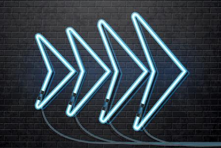 isolated illustartion: Illustartion of neon blue arrow isolated on black brick wall