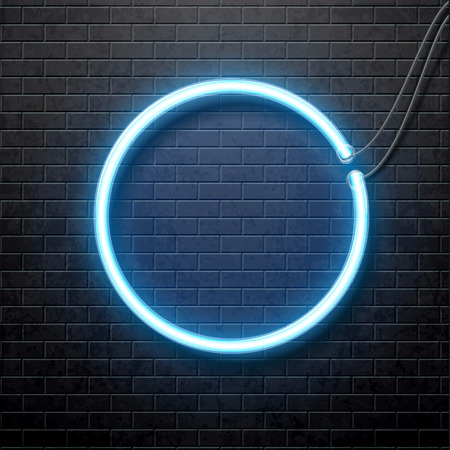 neon light: Illustartion of neon blue circle isolated on black brick wall