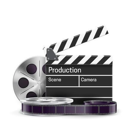 cinta pelicula: Illustartion del tema de la película realista eps 10 aislado en blanco