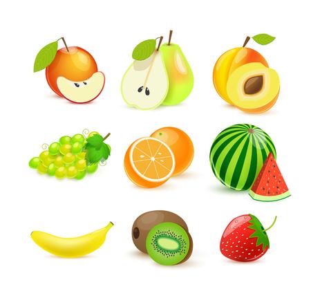 isolated illustartion: Illustartion of vector fruits icons isolated on white