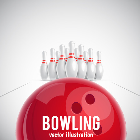 Illustartion of bowling realistic theme Stock Illustratie