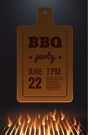 grille: Illustartion of bbq red fire grille Illustration
