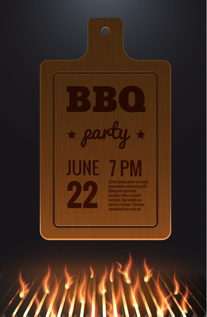 Illustartion of bbq red fire grille Illustration