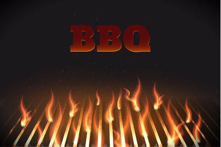 Illustartion of bbq red fire grille