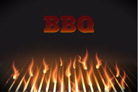 Illustartion van bbq rode brand grille Stock Illustratie