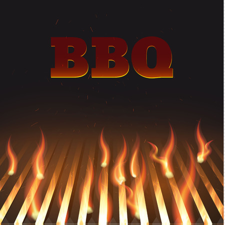 Illustartion of bbq red fire grille