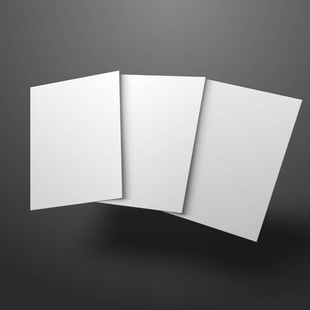 vector illustration of white mockup broshure 3d with shadow