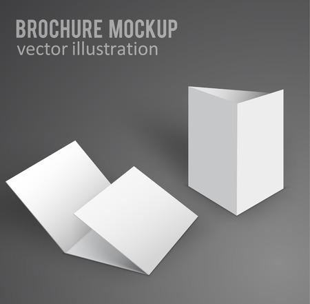 vector illustratie van witte mockup De brochure 3d met schaduw
