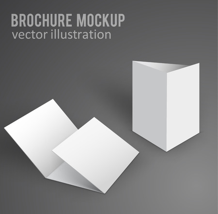 fold: vector illustration of white mockup broshure 3d with shadow