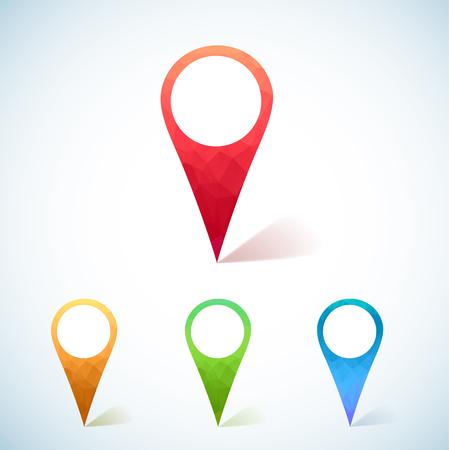Illustartion Zestaw kolorowych trójkątnym Map Markers Ilustracje wektorowe