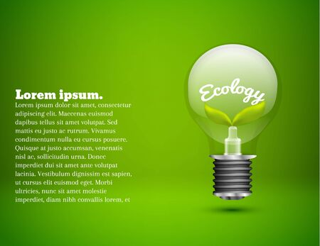 neon plant: illustration of Ecology abstarct lamp on green background