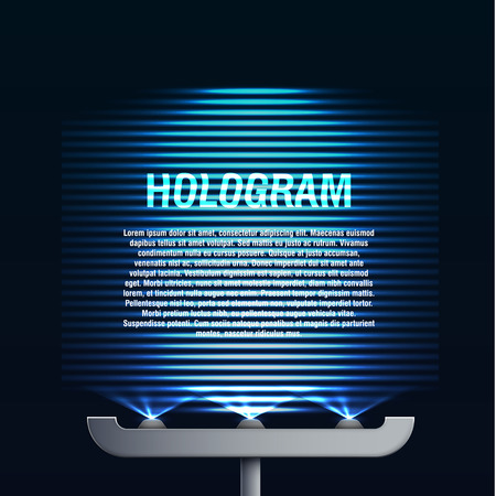 hologram: Illustartion of futuristic blue glowing hologram background with place for text