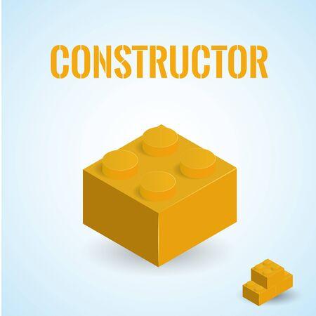 isolated illustartion: Illustartion of isometric block plastick constructor isolated on white Illustration