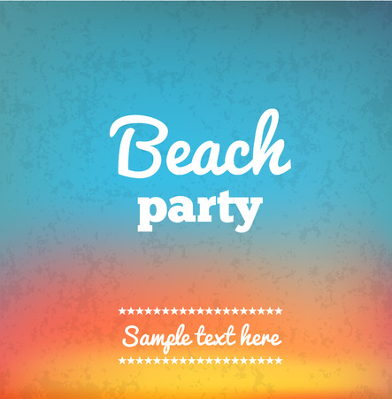 orange sunset: Illustartion of Beach Party Flye with place for text