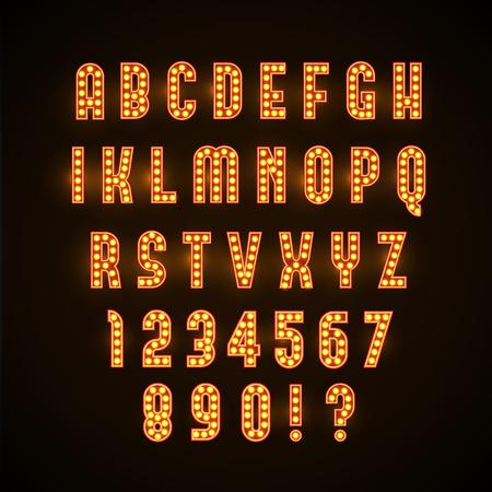 노란색 램프와 복고풍 빛나는 글꼴의 illustartion합니다