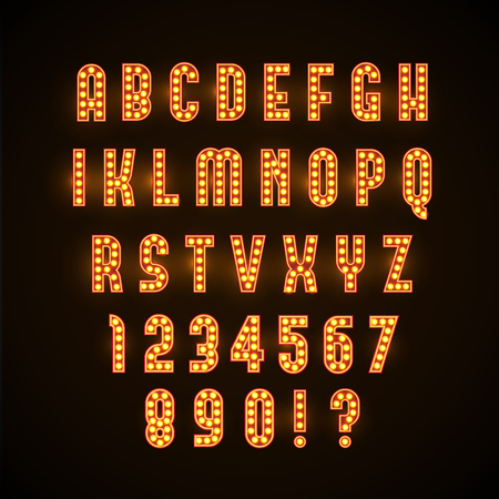 golden font: Illustartion of retro glowing font with yellow lamps