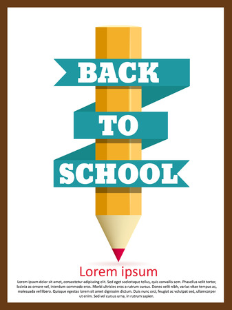 Illustartion di Back to oggetti di tema di scuola