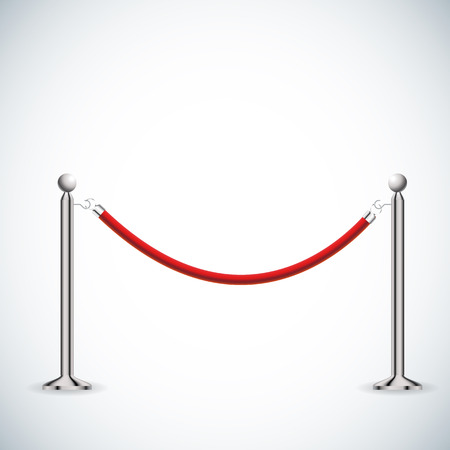 velvet rope barrier: illustration of red Barrier rope isolated on white. Illustration