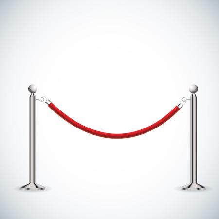 ilustración de la cuerda barrera roja aislada en blanco. Ilustración de vector