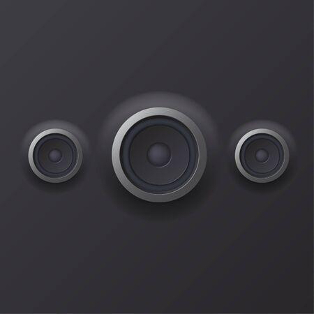 woofer: illustration of Audio speaker with sound waves  Illustration