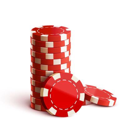apilar: Illustartion de fichas de casino aislados en blanco Tema realista