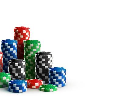 白の現実的なテーマに分離されたカジノ チップの Illustartion  イラスト・ベクター素材