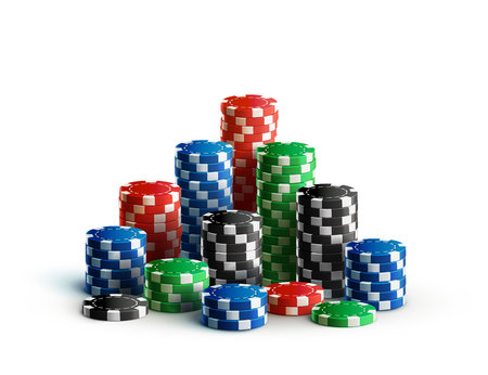 Illustartion of casino chips isolated on white realistic theme