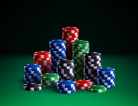 Illustartion of casino chips isolated on green background Ilustração