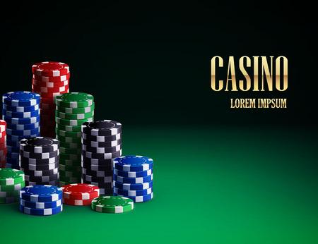 chips stack: Illustartion of casino chips isolated on green background Illustration