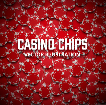 Illustartion of casino chips top view with shadows