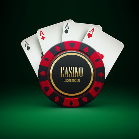 casinos: Illustartion of casino chip with place for textrealistic theme