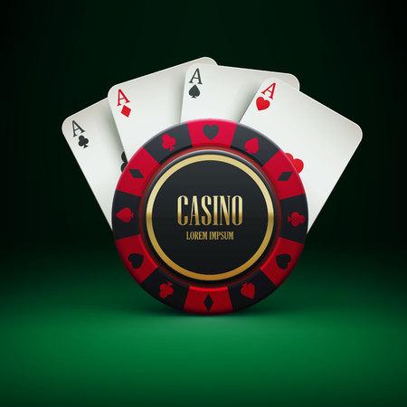 Textrealistic テーマの場所カジノ チップの Illustartion