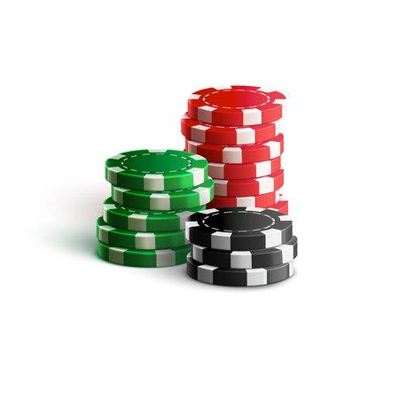 Illustartion żetonów kasyna izolowanych na białym realistycznego tematu