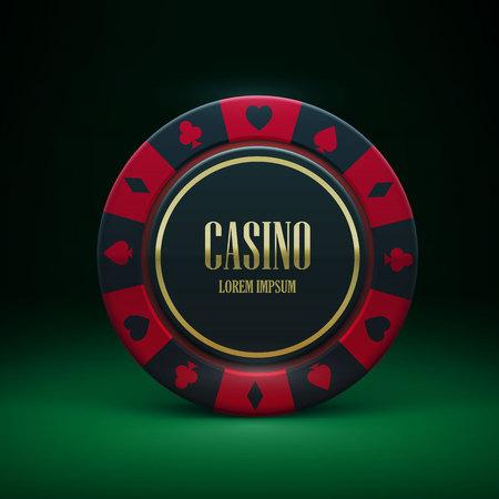 Illustartion de la ficha de casino con el lugar para el tema textrealistic