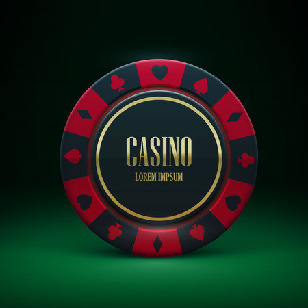 wining: Illustartion of casino chip with place for textrealistic theme