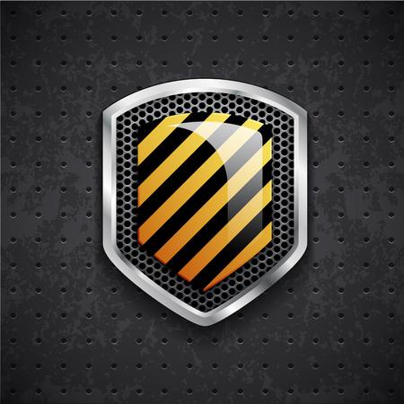 iron defense: Illustartion of danger metal shield with black grille