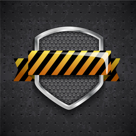 acero: Illustartion del escudo peligro de metal con rejilla negro
