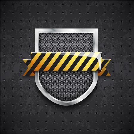 grille: Illustartion of danger metal shield with black grille
