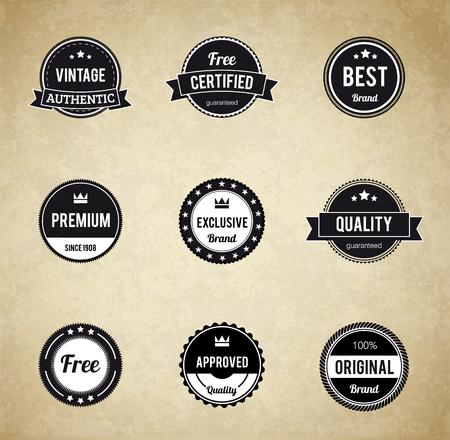 sello: Illustartion de insignia retro EPS 10 etiquetas de Primera Calidad