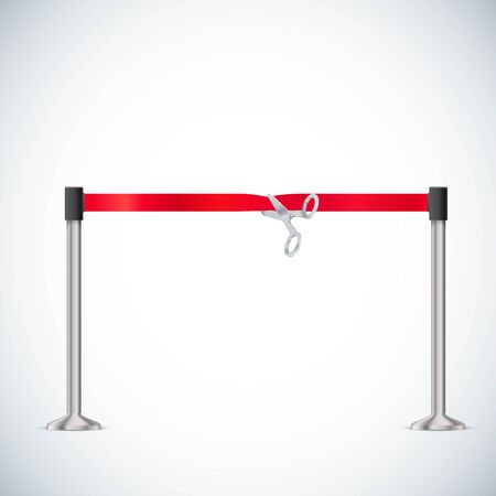 stanchion: illustration of Barrier rope isolated on white realistic object