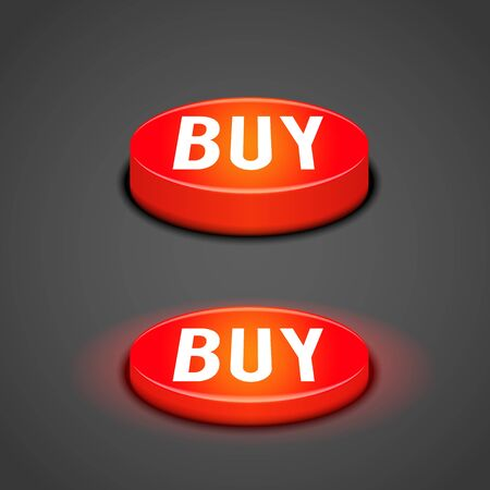 three d: vector illustration of 3d red button buy
