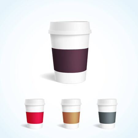 coffee to go: Illustartion of coffee cup white mockup 3d