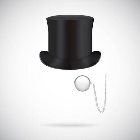 Illustartion del sombrero de copa Negro aislado en blanco Ilustración de vector