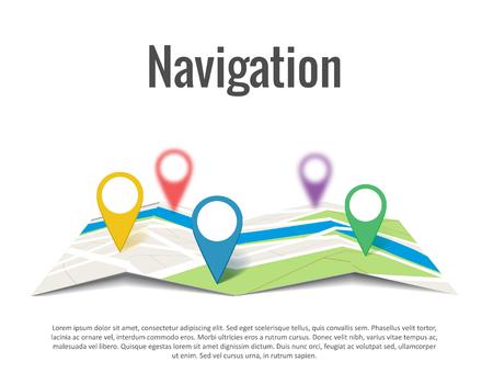 isolated illustartion: Illustartion of Map with a pin isolated on white