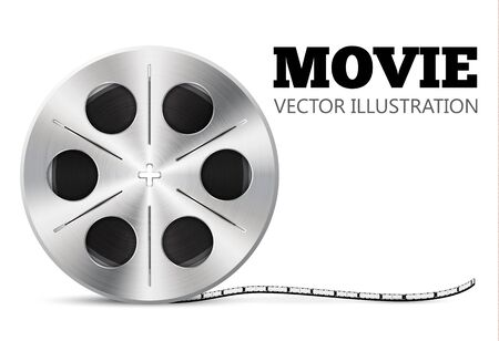 isolated object: illustration of film roll isolated on white realistic object